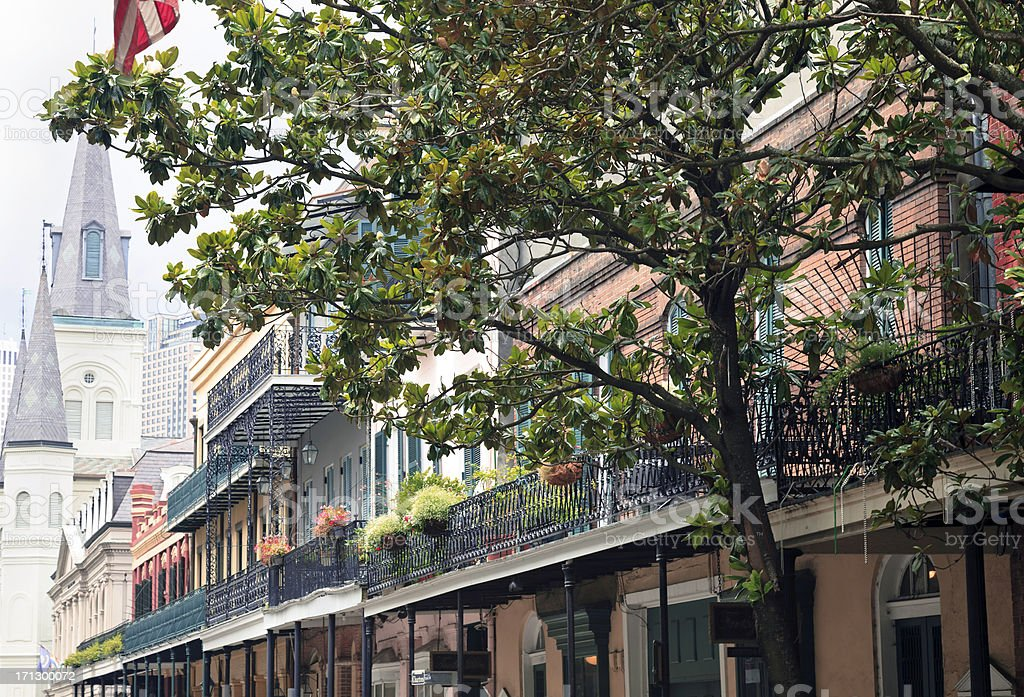 Chartres Street scene in the French Quarter royalty-free stock photo