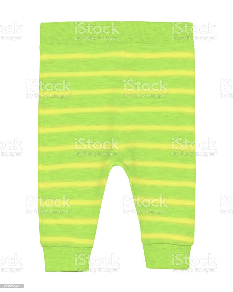 Chartreuse light green children`s newborn pants with stripes isolated on white stock photo