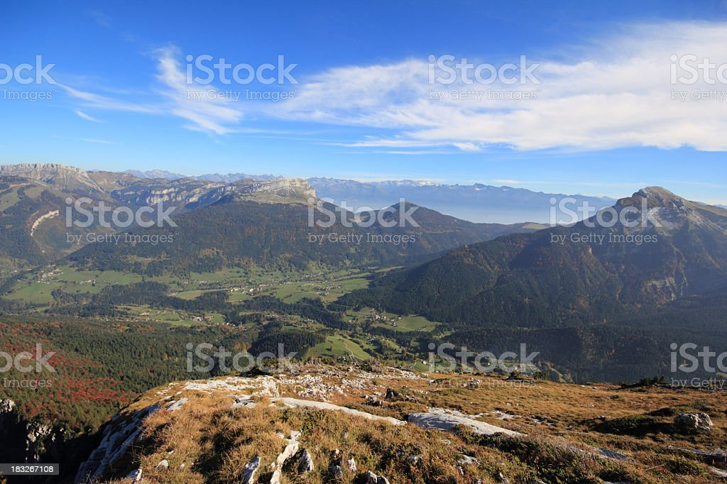 Chartreuse Mountain Range Panorama in Autumn stock photo