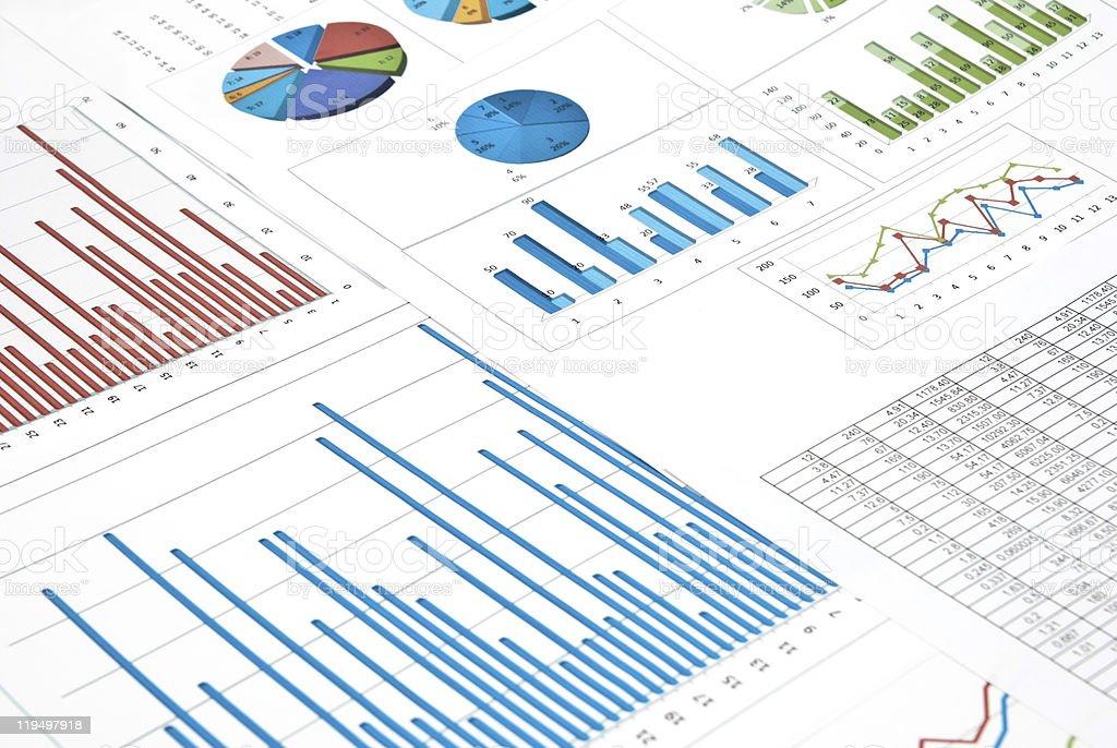 Charts and diagrams stock photo