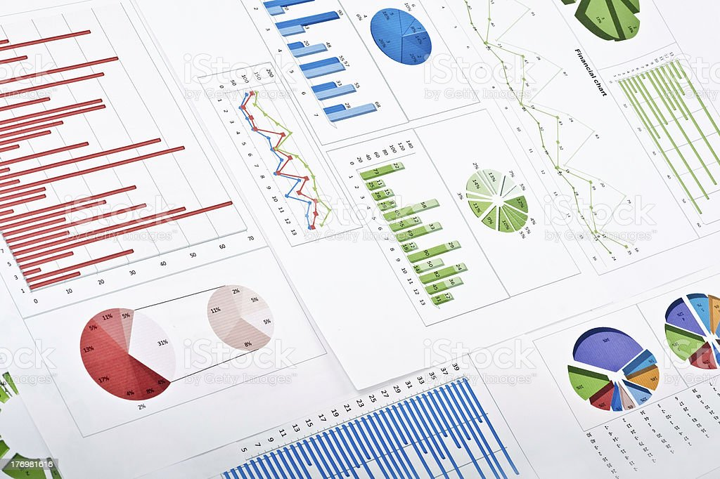 Charts and diagrams stock photo