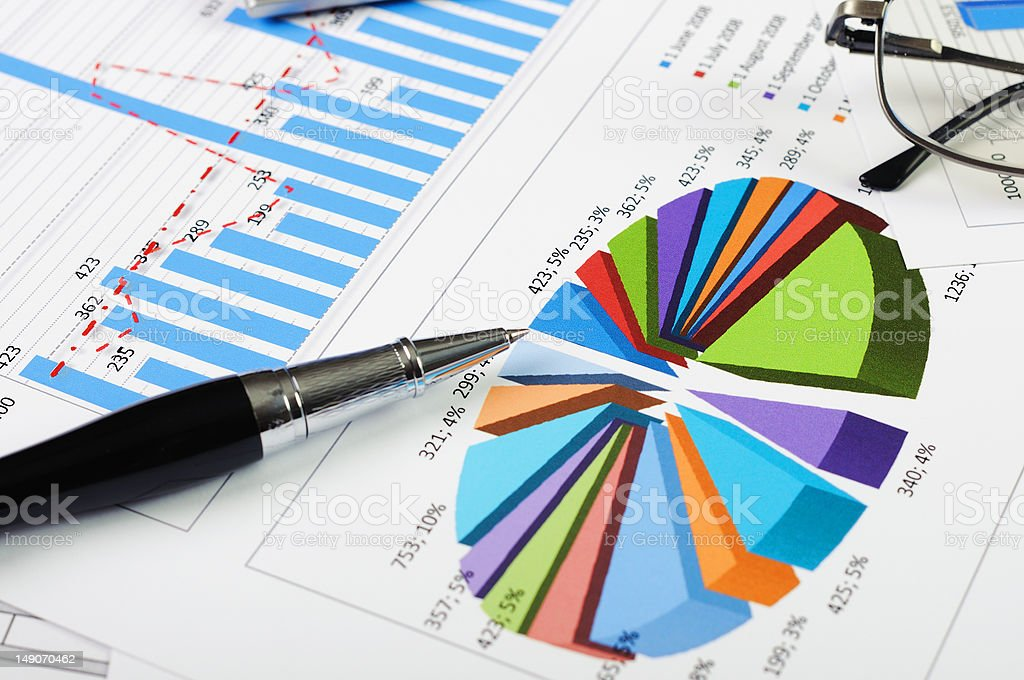 charts and graphs of sales stock photo