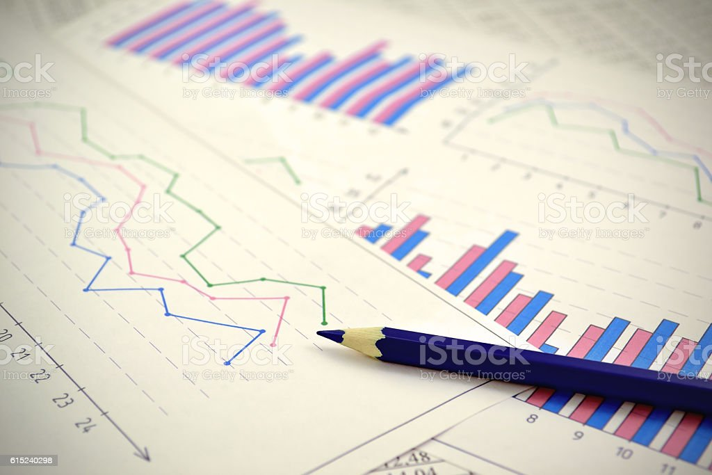 Charts and graphs stock photo