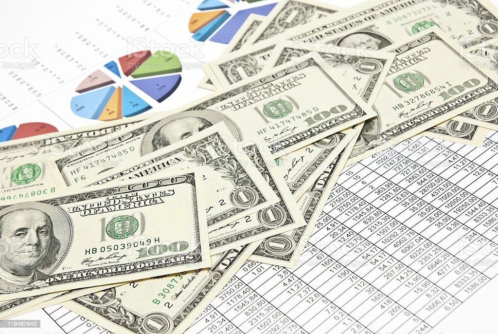 Charts, diagrams and money royalty-free stock photo