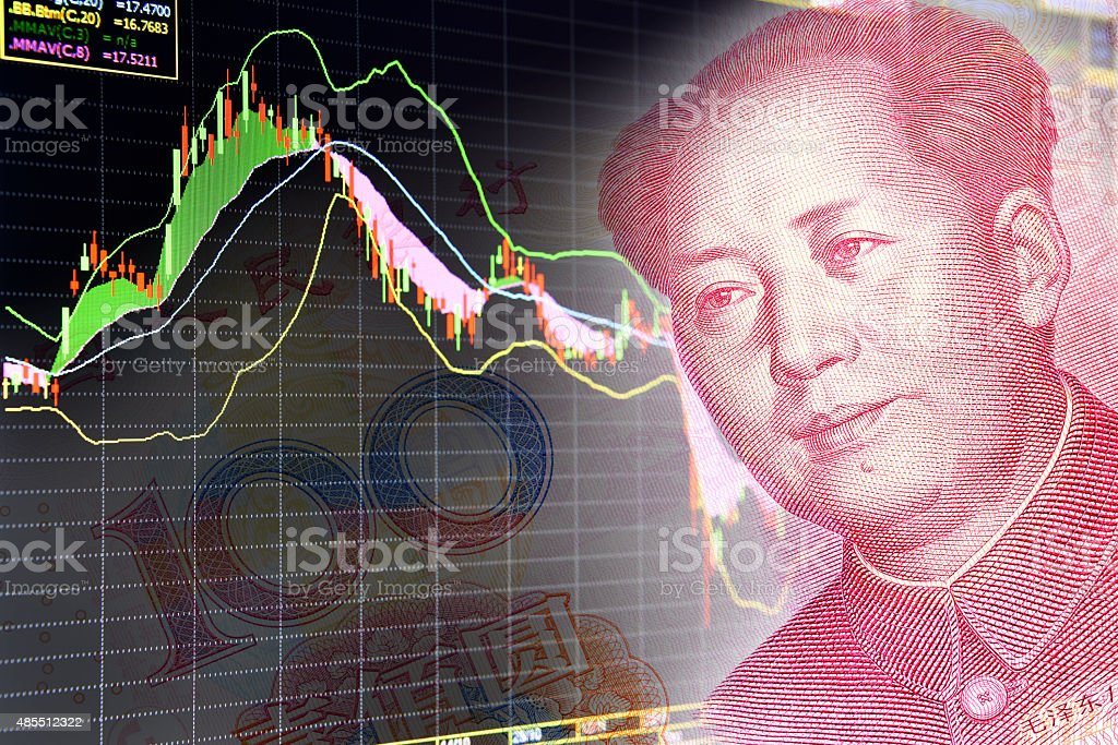 Charts of financial instruments with the face of Mao Zedong. stock photo