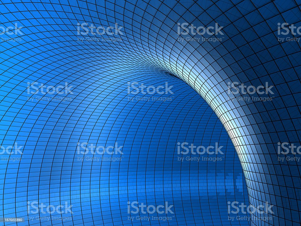 3D chart-style tunnel in various blue tones stock photo