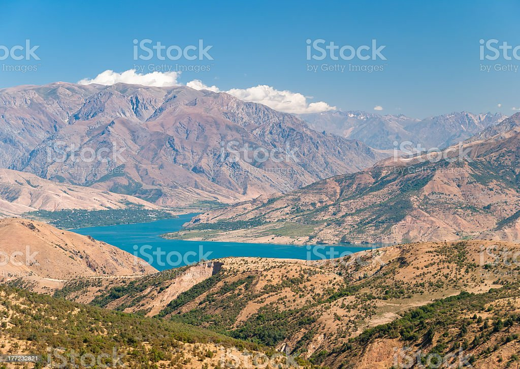 Charvak Lake from above, Uzbekistan stock photo