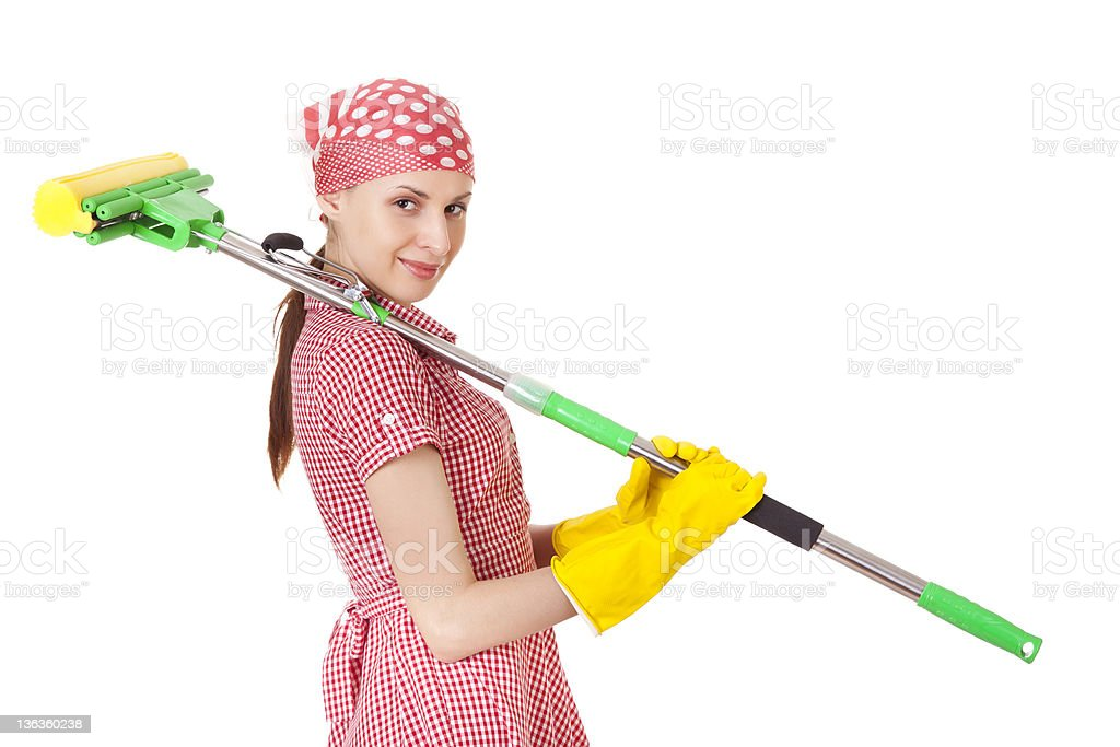 Charwoman with mop on white stock photo