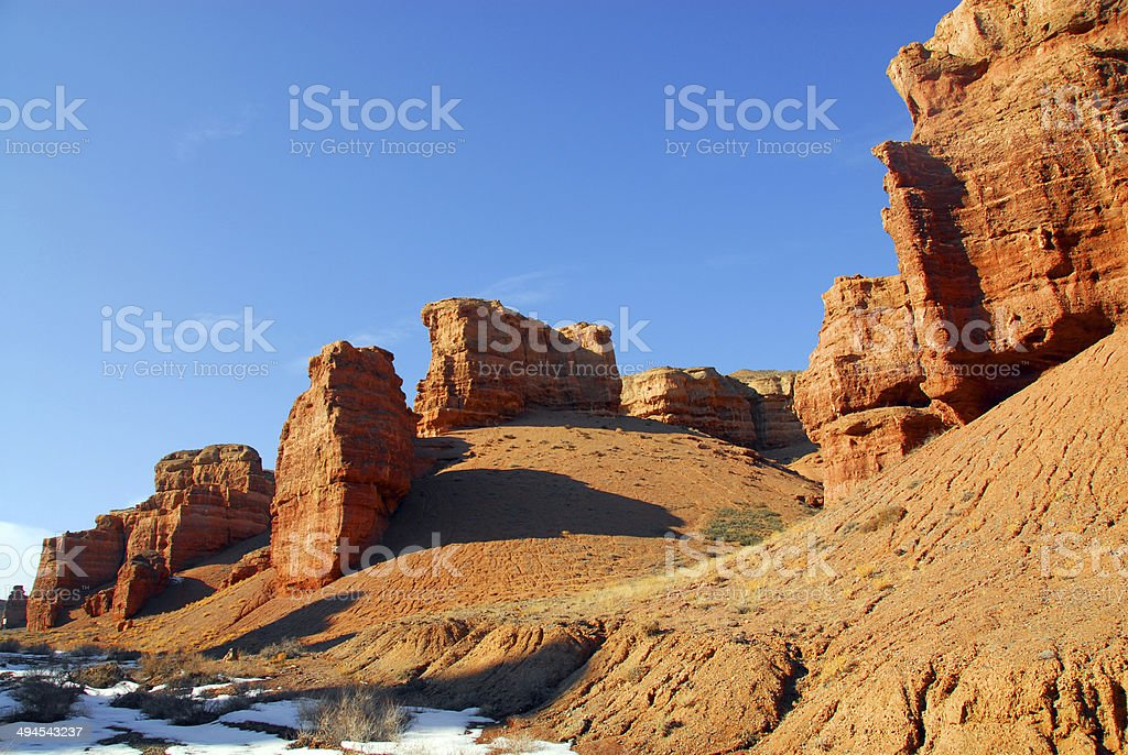 Charyn Canyon: Valley of the Castles - eroded rocks stock photo