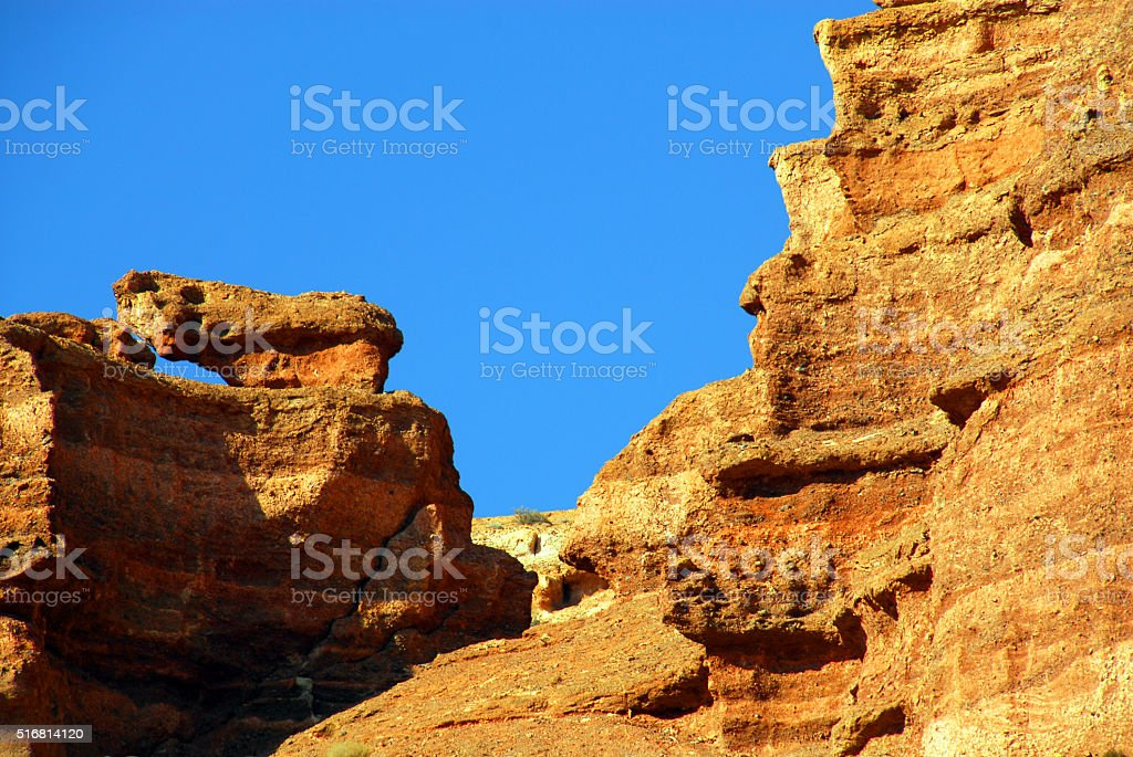 Charyn Canyon: Valley of the Castles -  sedimentary rocks stock photo
