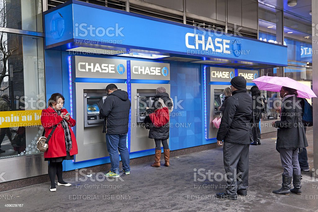 Chase Bank cash machine stock photo