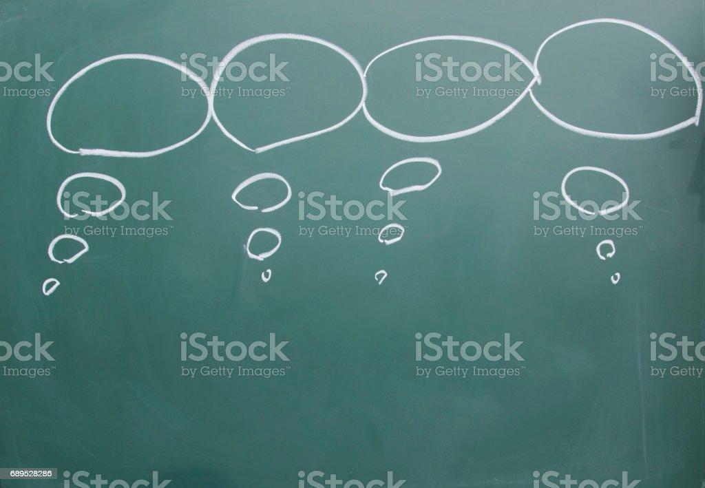 chat board drawn on blackboard stock photo