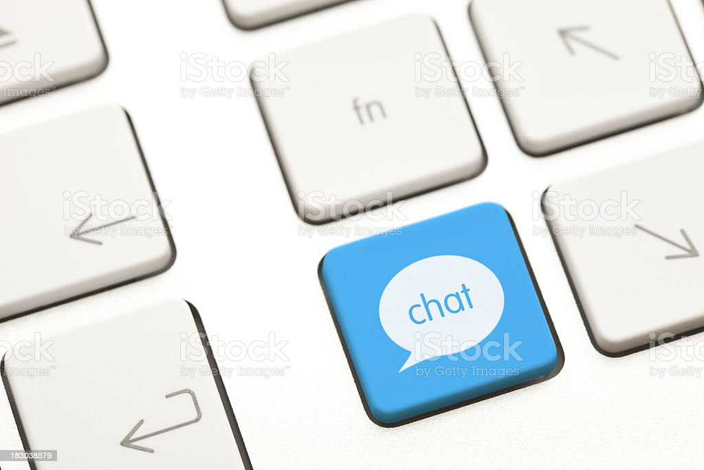 Chat computer key stock photo