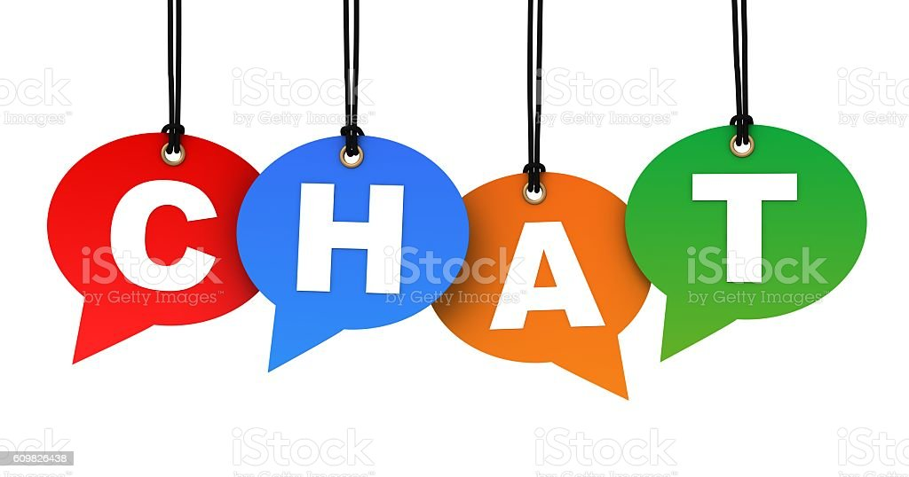 chat hanging note concept illustration stock photo