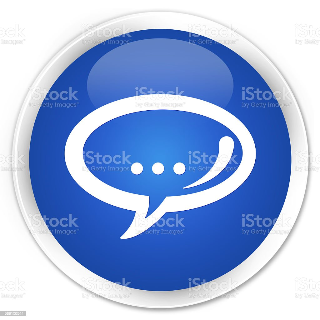 Chat icon blue glossy round button stock photo