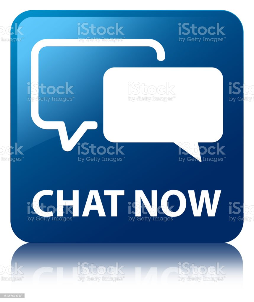 Chat now blue square button vector art illustration