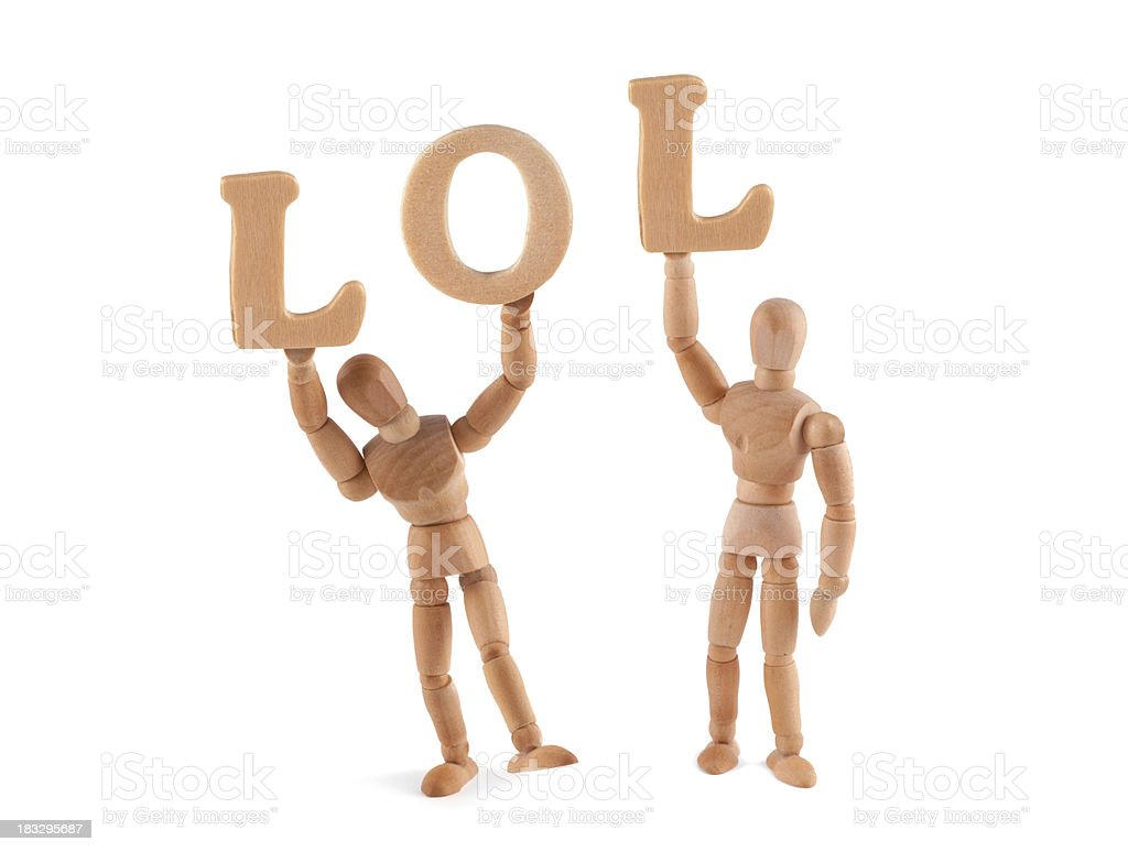 Chat Speech- LOL - wooden mannequin holding letters stock photo