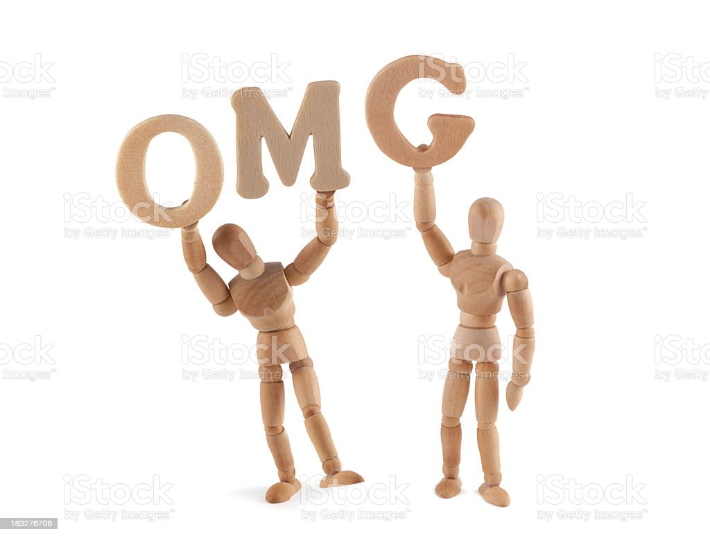 Chat Speech- oh my god - wooden mannequin holding letters stock photo