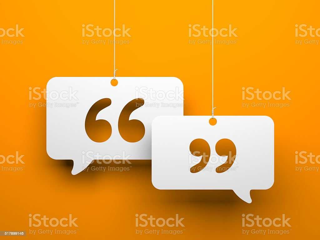 Chat symbol and Quotation Mark stock photo