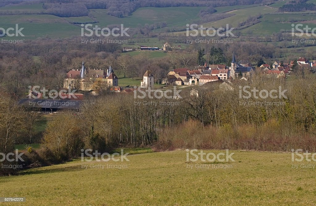 Chateau Commarin in France stock photo