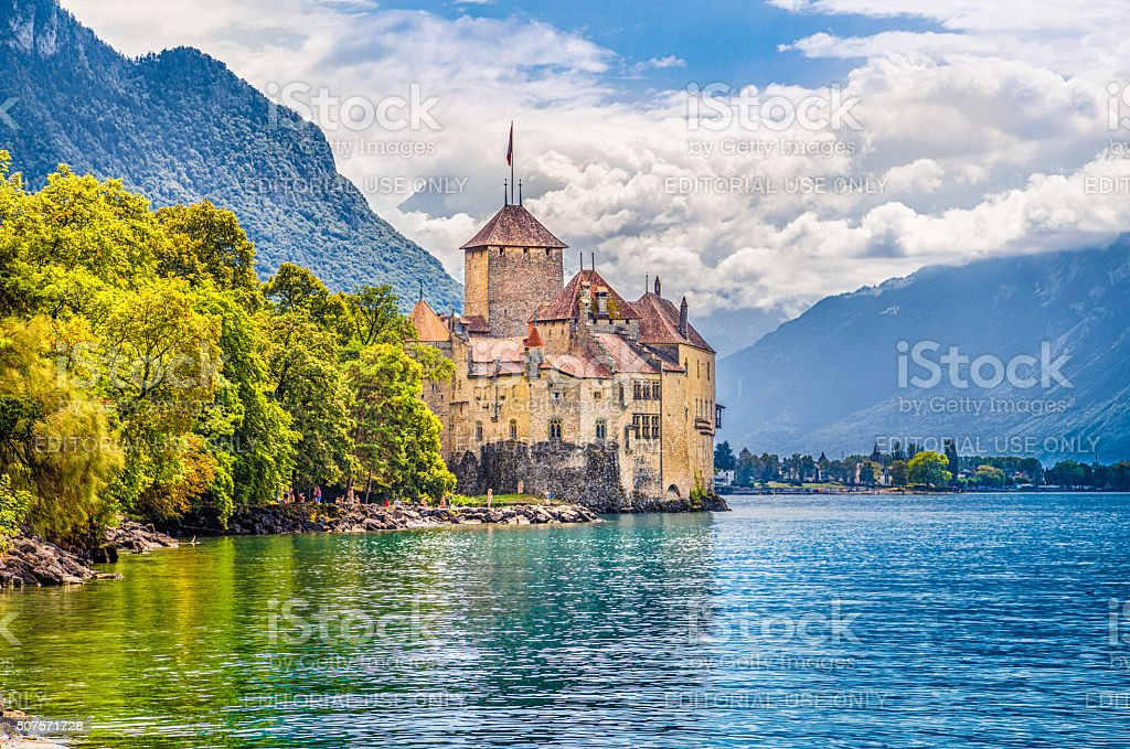 Chateau de Chillon at Lake Geneva, Canton of Vaud, Switzerland stock photo