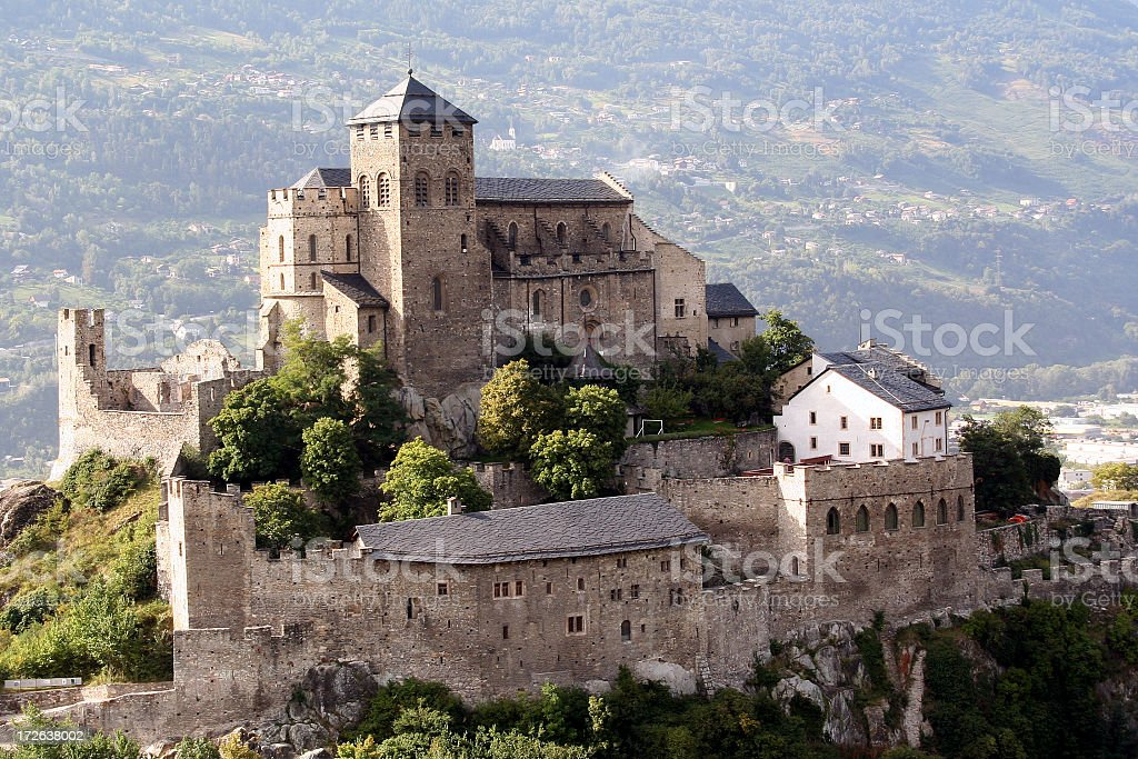Chateau de Tourbillon, Sion, Switzerland stock photo