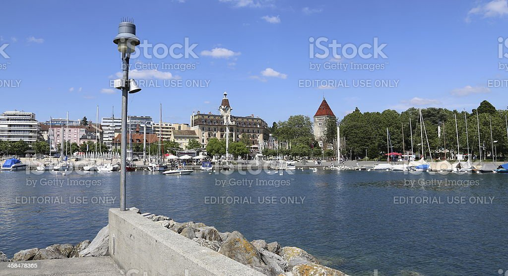 Chateau d'Ouchy, Lausanne, Switzerland stock photo