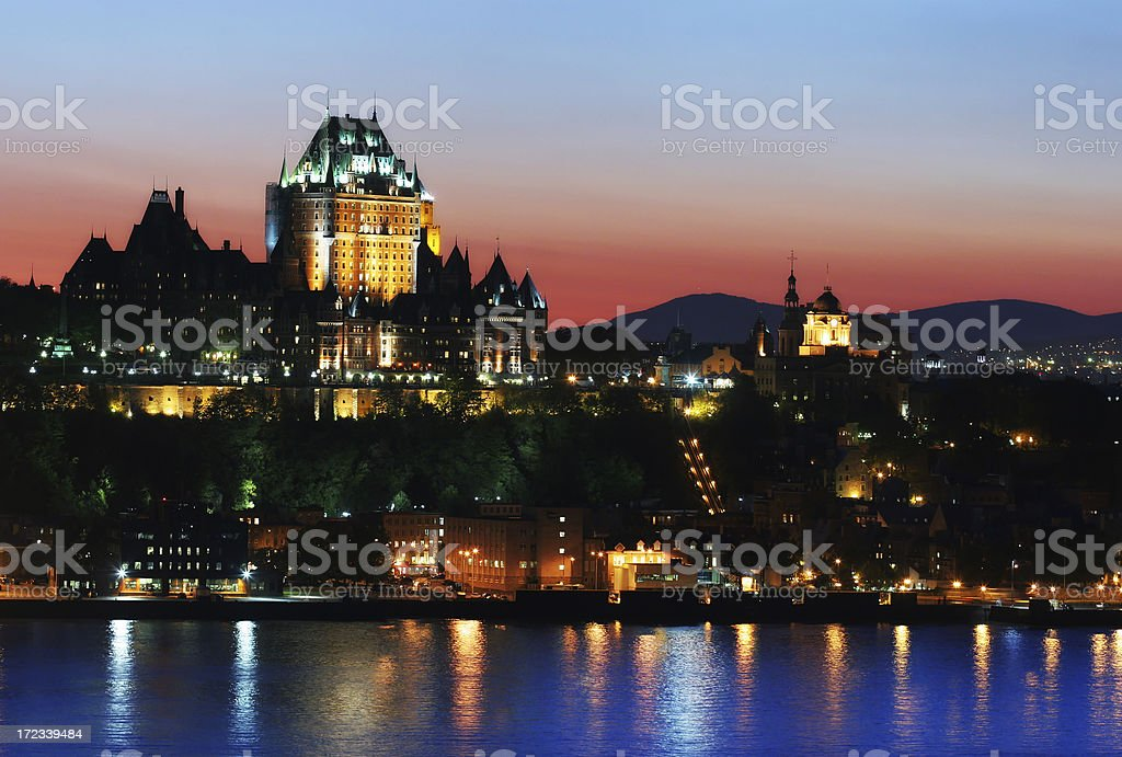 Chateau Frontenac and the Old Quebec City at Sunset stock photo