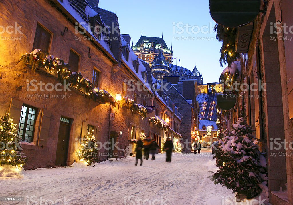 Chateau Frontenac at dusk in winter, Quebec City stock photo