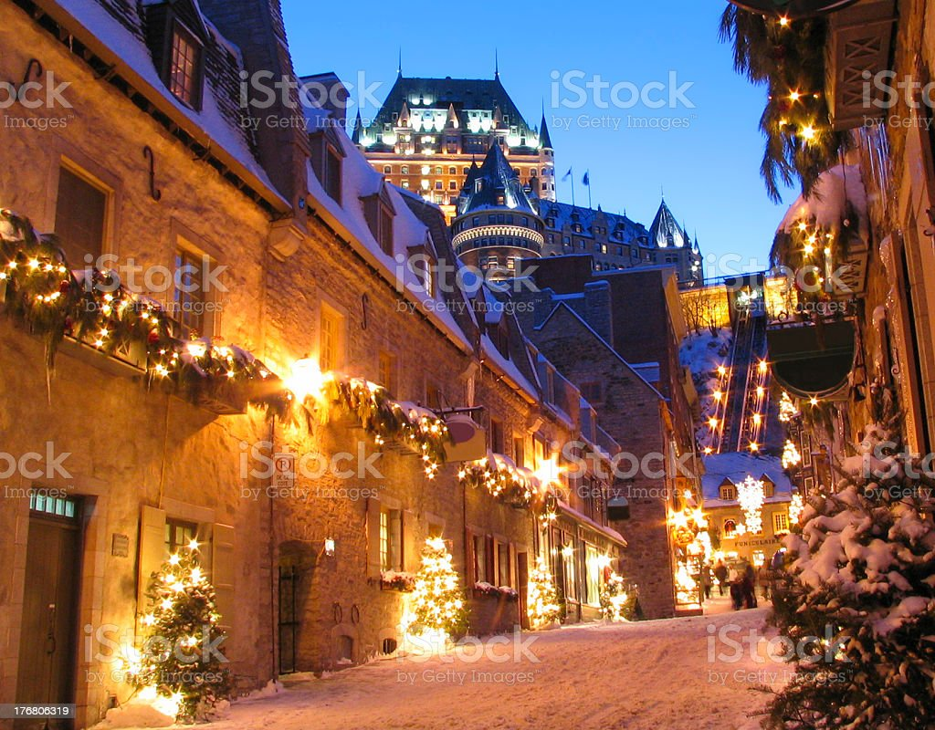 Chateau Frontenac at night in winter, Quebec City stock photo