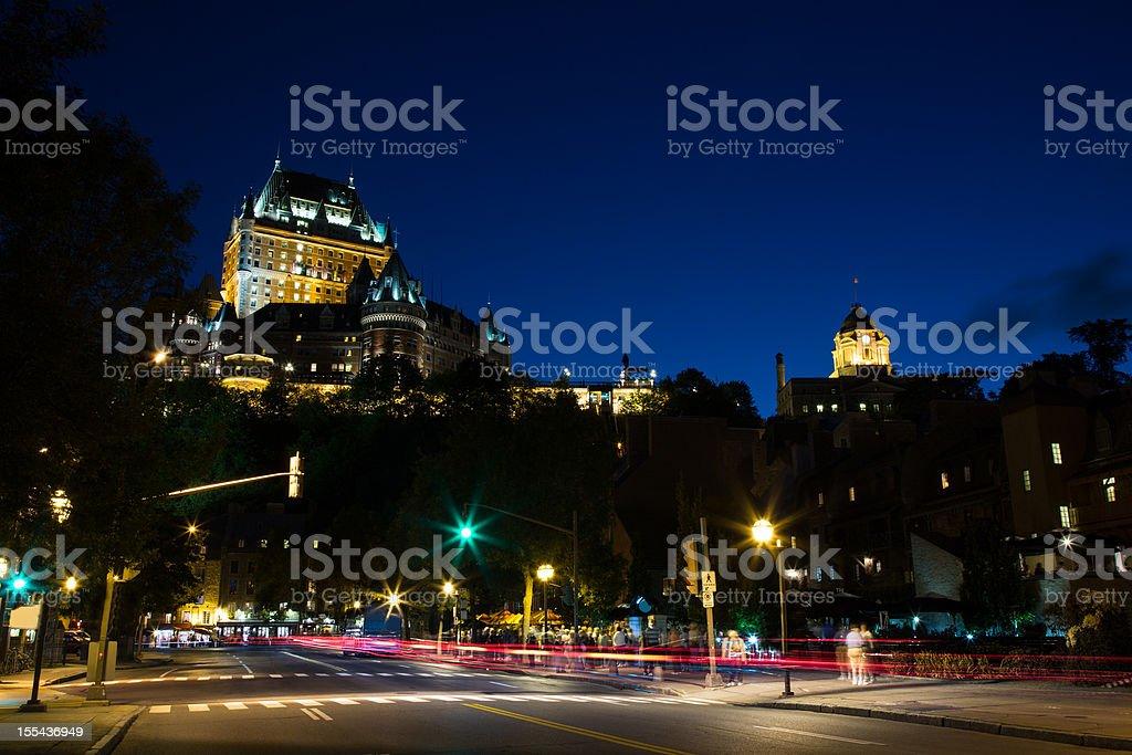Chateau Frontenac at night stock photo