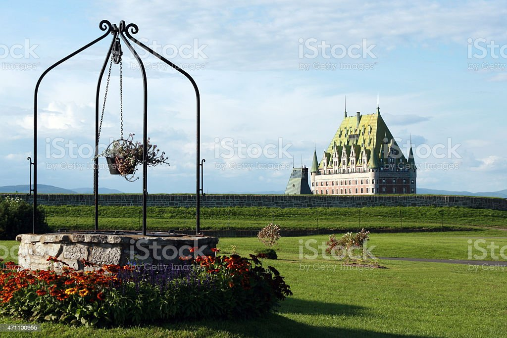 Chateau Frontenac at sunset, Quebec city, Canada stock photo