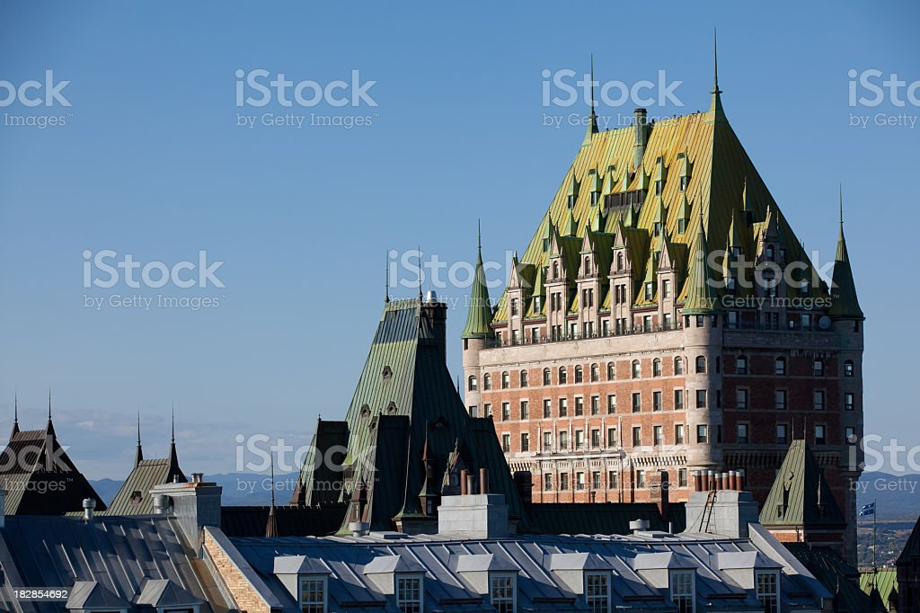 Chateau Frontenac at sunset, Quebec city stock photo