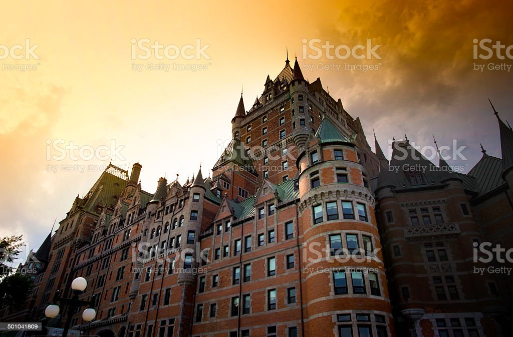 Chateau Frontenac during summer sunset stock photo