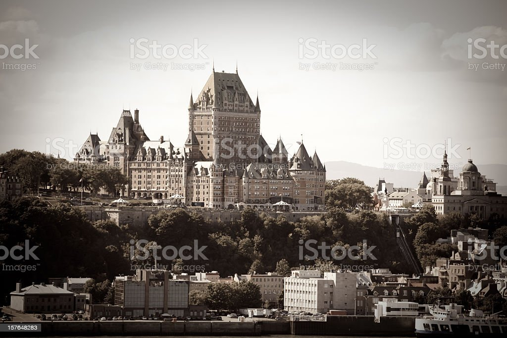 Chateau Frontenac from Levis, Quebec city, Canada (Sepia toned) stock photo