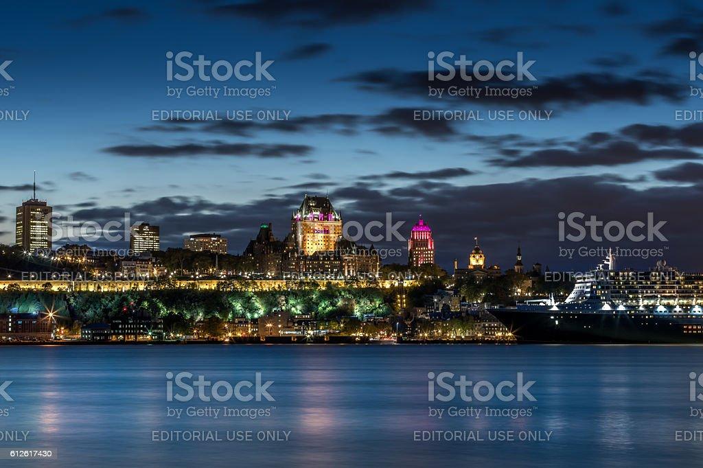 Chateau Frontenac Illuminated at Night, Quebec City, Canada stock photo