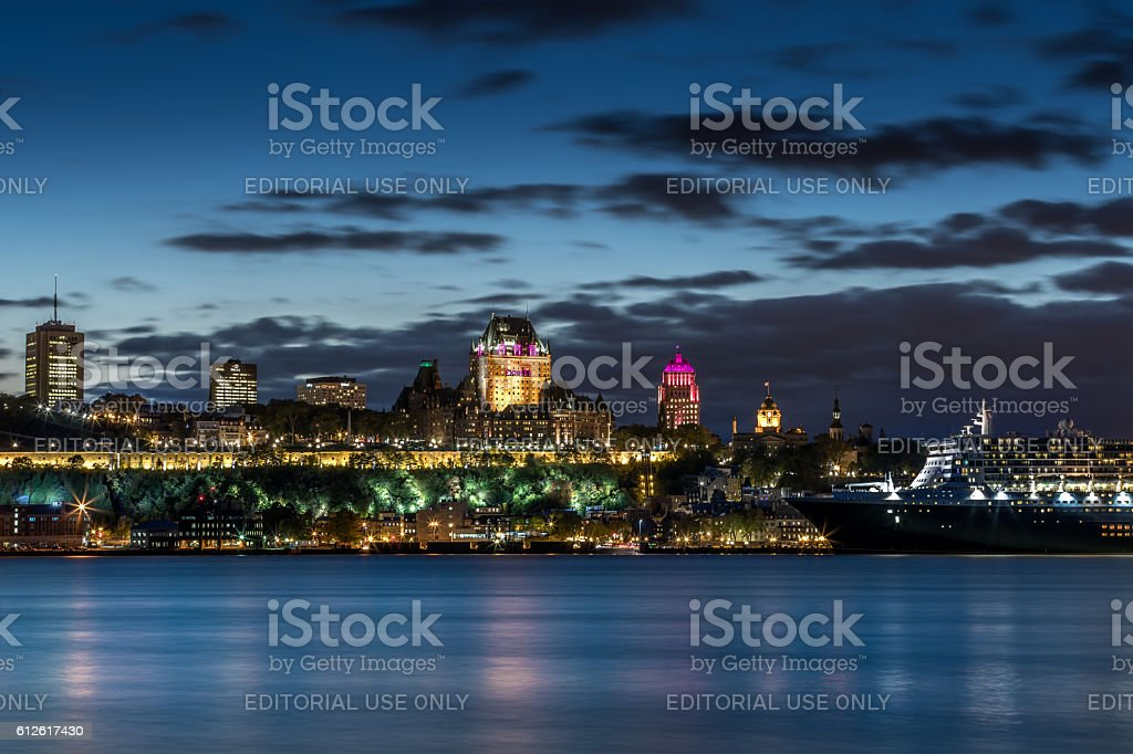 Chateau Frontenac Illuminated at Night, Quebec City, Canada stock photo
