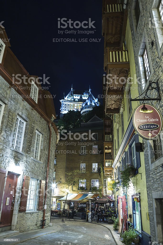 Chateau Frontenac view from Street in Old Quebec City, Canada stock photo