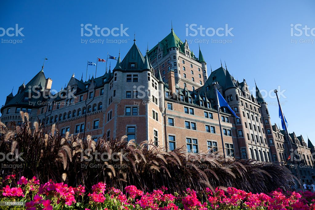 Chateau Frontenac With Flowers In Summer, Quebec City stock photo