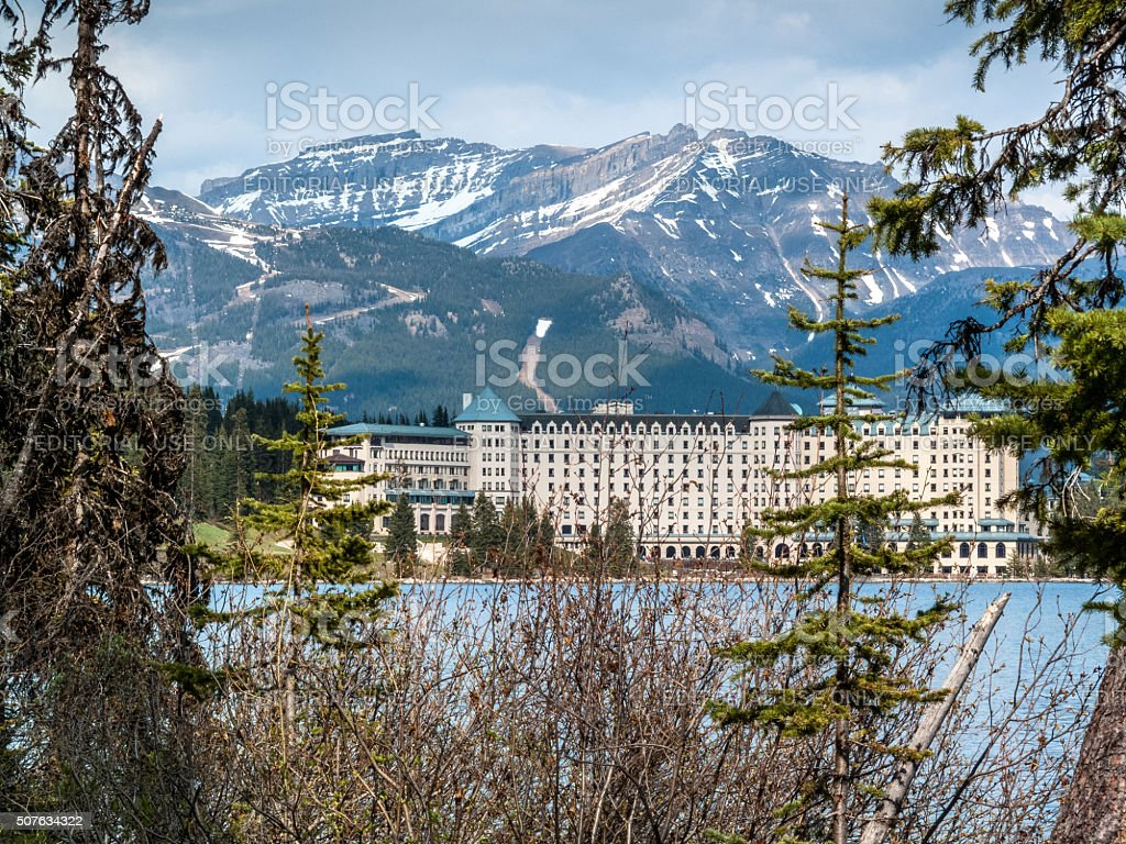 Chateau Lake Louise hotel close view stock photo