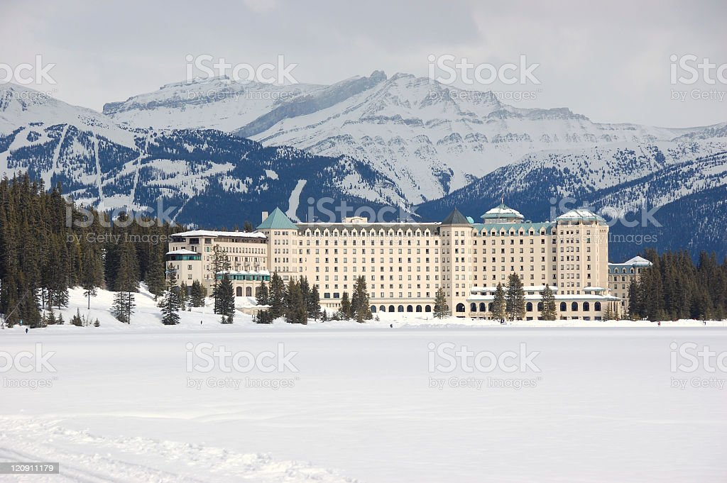 Chateau Lake Louise in winter stock photo