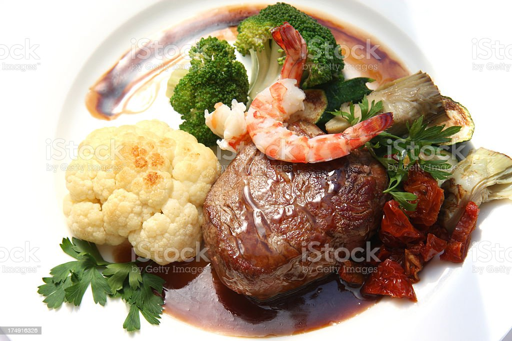 Chateaubriand steak with shrimp stock photo