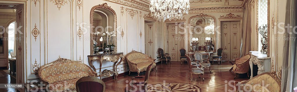 Chateaux Napoleon III Interior in Champagne France stock photo