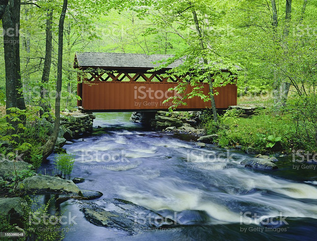 Chatfield Hollow covered bridge, Connecticut stock photo