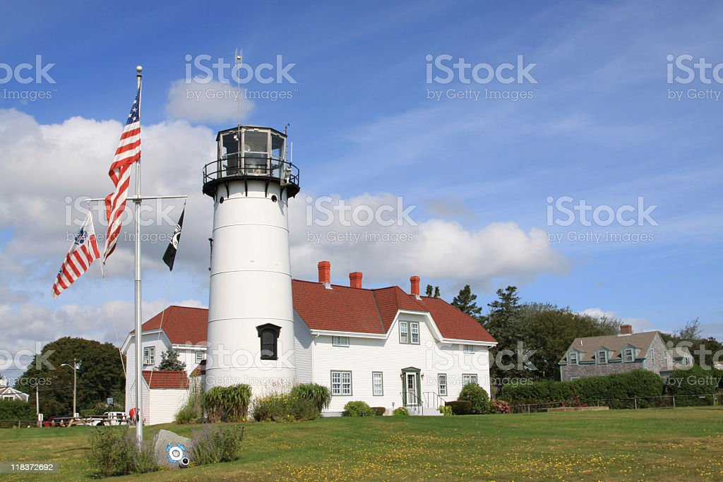 Chatham Lighthouse, Cape Cod, Massachusetts. Blue sky, clouds. royalty-free stock photo