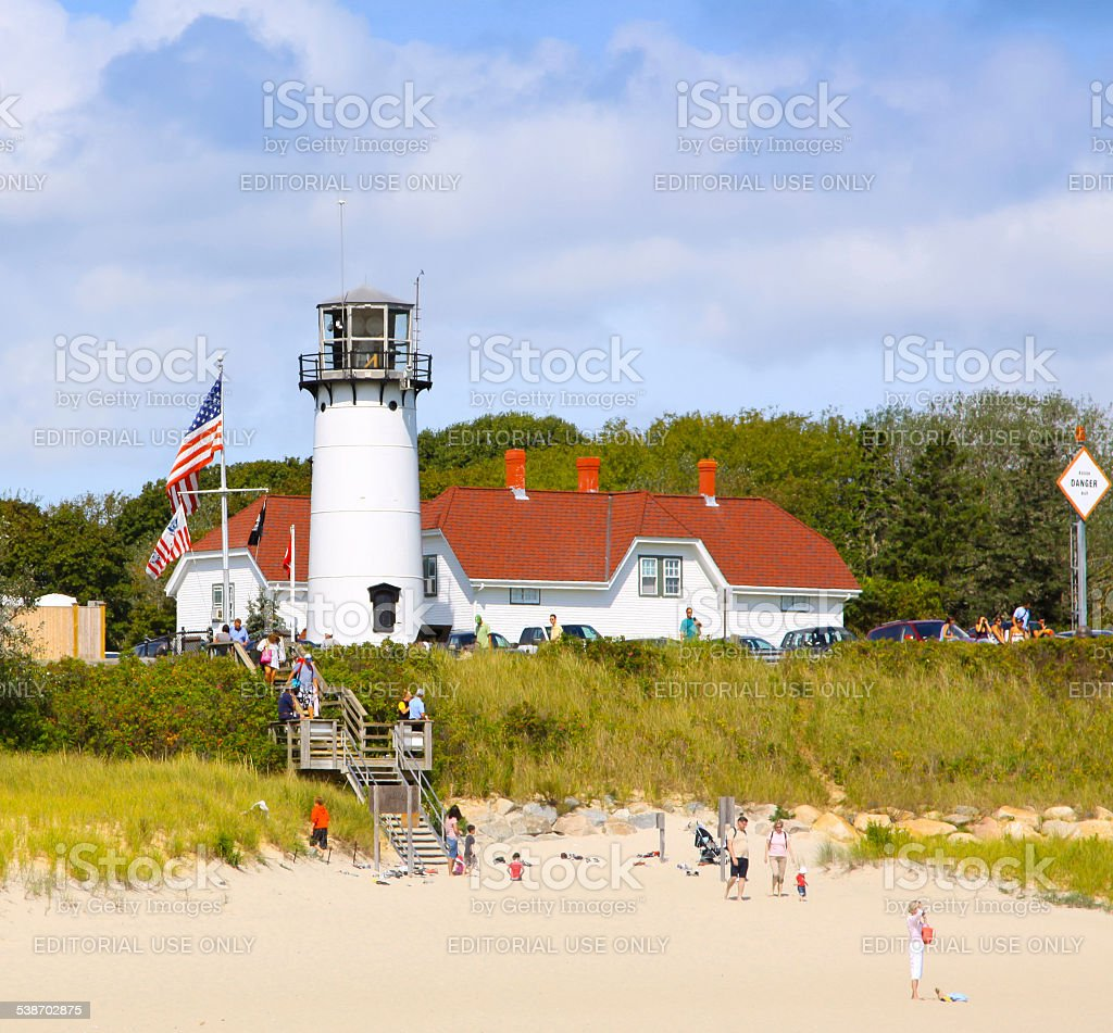 Lighthouse in Chatham, Cape Cod, Massachusetts, USA. stock photo