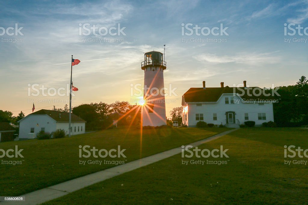 Chatham Lighthouse sunset stock photo