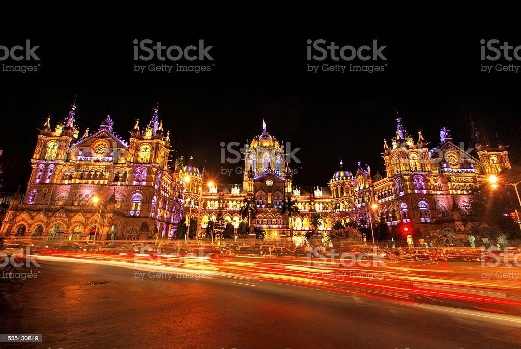 Chatrapati Shivaji Terminus, Mumbai illuminated at night stock photo