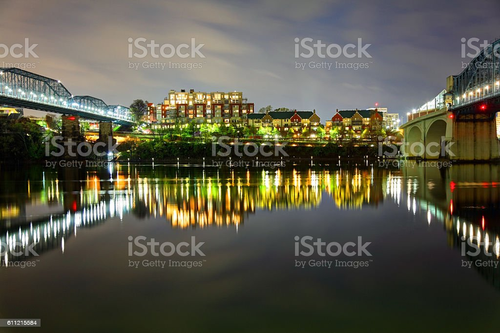 Chattanooga along Tennessee River at night stock photo