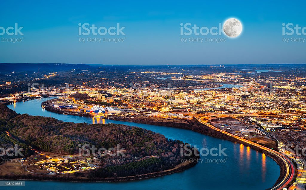Chattanooga downtown at night stock photo